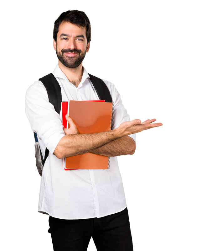 Student man presenting something